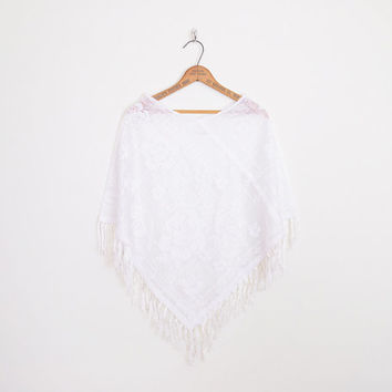 white lace poncho, sheer lace poncho, fringe poncho, 70s poncho, white lace shawl, white lace cape, white lace top, 70s hippie top os s m l