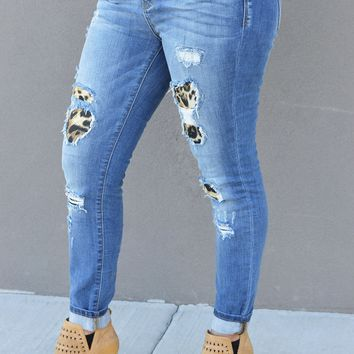 Destroyed Leopard Patch Jeans