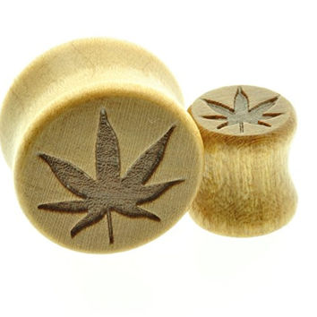 "Wooden Ear Plug with Marijuana Cannabis Leaf Design Sold As a Pair -00 Gauge -1/2"" - 9/16"" - 5/8"" - 11/16"""