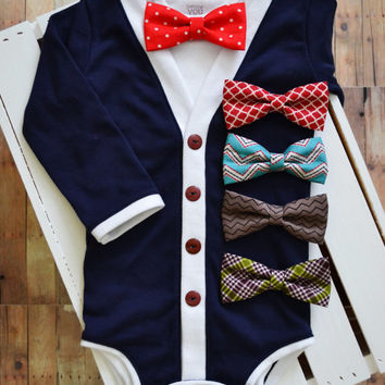 Cardigan Onesuit: Handmade Blue with White Trim with Interchangeable Tie Shirt and Bow Tie