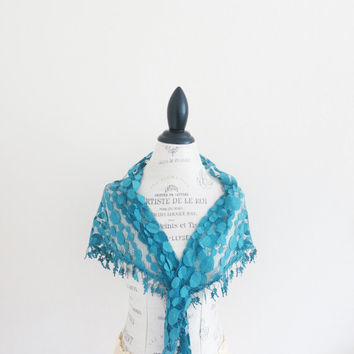 Turquoise Transparent Triangle Lace Scarf Aqua by SistersLace