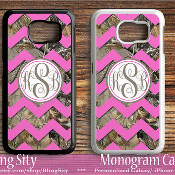 Galaxy S6 Edge Case Hot Pink Chevron Camo Monogram S4 S5 Tough Custom Cover Tree Camo Personalized Samsung S3 Case Note 2 3 4 BlingSity