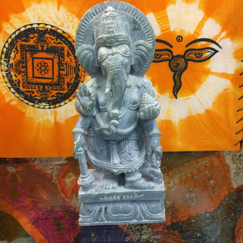 Spiritual Stone Statue- Good Luck Ganesha Yoga Decor Ganesha Statue 8 Inches