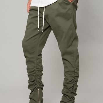 Olive Drop Crotch Stacked Ankle Zip Pant