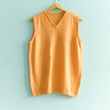 Vintage bright yellow wool sleeveless sweater vest / hipster preppy knit sweater / medium