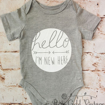 Hello I'm New Here Onesuit - Gray (Infant)