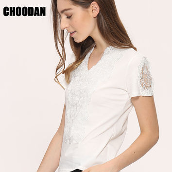 Blusa Lace Blouses Shirts Women Tops Tees 2017 Summer Style White Lace Blouse Cotton Elegant S-3XL Plus Size Shirts Woman Cloth