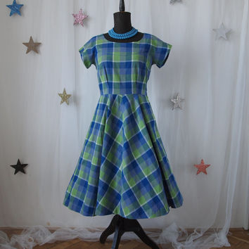 50's Vintage Swing Dress Blue and Green Full Skirt Rockabilly Plaid Picnic Mad Men 1950's Cupcake