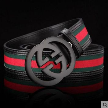 GUCCI Stylish Woman Men Metal Double G Smooth Buckle Belt Stripe Leather Belt