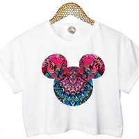 AZTEC MICKEY crop TOP head mouse cropped tshirt womens ladies fashion retro vtg handmade funny style tumblr cool xs s m l cute floral summer