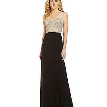 Hailey by Adrianna Papell Beaded Bodice V-Neck Gown - Black