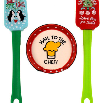 Hail To The Chef Spoon Rest Christmas Tree Penguin Spatulas Set 3 Santa Baking