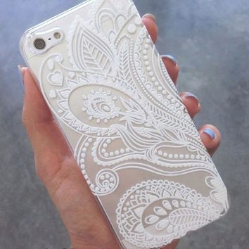 Malloo 2017 Henna White Floral Cell Phones Case For iPhone 5 5S
