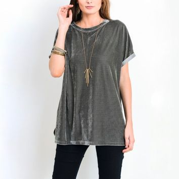 on the road velvet top - grey