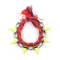Punk Carnival Painted Spikes & Braided Cotton Bracelet - Rhodium / Orange Blue Combo / Yellow Spikes