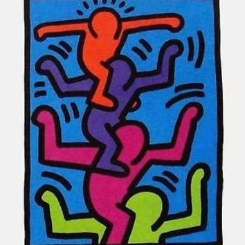 Stacked Figures, Offset Lithograph, Keith Haring