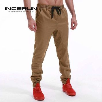 Brand Casual Pants Men Hip Hop Harem Trousers Solid Color Elastic Cuff Cotton Male Chinos Pants