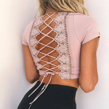 Deep V-Neck Crisscross Strappy Lace Short Sleeve Cami Crop Shirt Top Tee