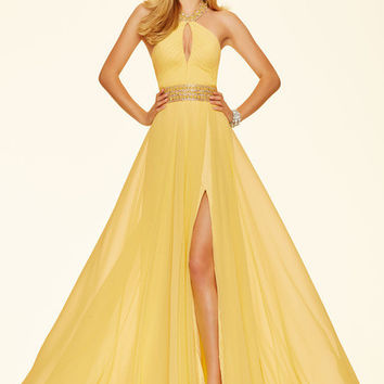 2016 Simple Halter Sleeveless Floor-Length Chiffon Yellow Mermaid Prom Dress High Slit Beaded Cheap-Elegant-Dresses Custom Fit