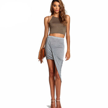 Summer Women Skirt Hem Cross Fold Sexy Wrap Banded Waist Draped women skirt Cut Out Asymmetrical Pencil Skirts jupe XS-XXXL