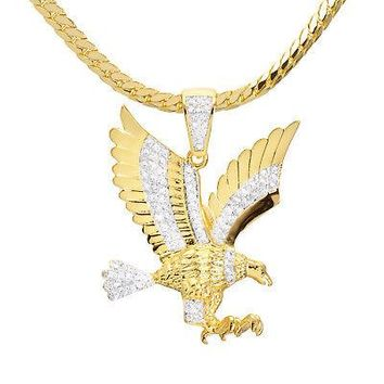 "Jewelry Kay style Men' Iced Out CZ Gold Plated Eagle Pendant 20"" Miami Chain Necklace BCH 13585 TT"
