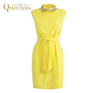 Queenus Women Bodycon Dress Spring Autumn Above Knee Peter Pan Collar Lace Up Elegant Office Pencil Women Dresses Free Shipping