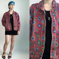 90s Southwestern Jacket Red Print Denim Jacket Red Button Down Jacket Colored Jean Jacket Size Large
