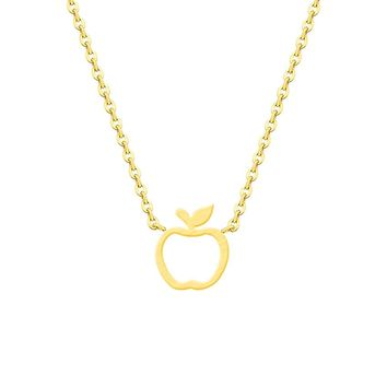 Gold Apple Necklaces For Women's Fashion Boho Jewelry Stainless Steel Collier Femme Teacher Gifts Graduation Best Friend Bff