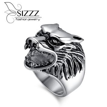 SIZZZ Wolf Head Rings For Men 316L Stainless Steel Rock Punk Rings Animal Rings Jewelry