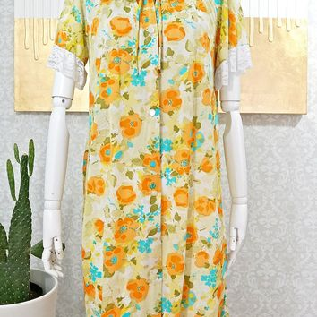 Vintage 1960s Floral + Nylon Nightgown