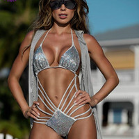 Siamese Swimsuit trikini High Waist Diamonds Sequins Silvery Agent Sexy Bodysuit hot praia Women  Brazilian BIKINI tanini