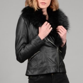 Molly Bracken Faux Leather Jacket with Removable Fur
