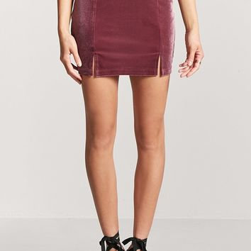 Velvet M-Slit Mini Skirt