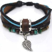 Adjustable Bracelet Cuff made of Black Leather Ropes and Color Wooden Beads  238S