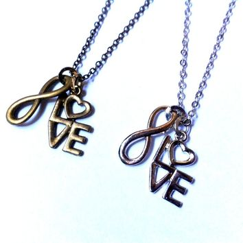 Infinite LOVE necklace, infinity & LOVE by vintagehomage on Zibbet