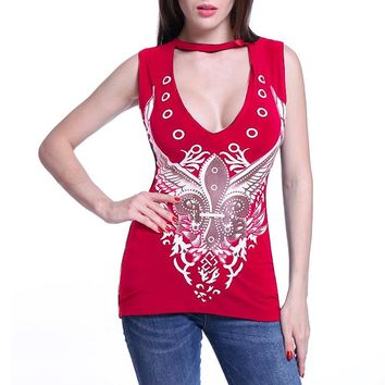 women sexy Deep v neck tops black red T-Shirts punk hippie  printed tops 2018 Summer rock&roll shirts clothing WS7826z