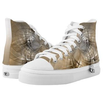 Earth Tones Abstract Modern Fractal Art Texture High-Top Sneakers