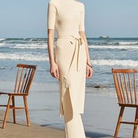 Short Sleeve Long Top and Wide Leg Pant Suit