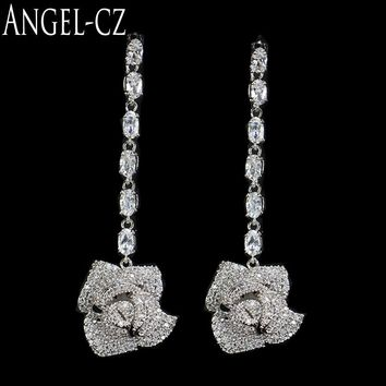 ANGELCZ Stunning Bridal Jewelry Accessories Full Inlay Clear Crystal Wedding Long Hanging Earrings With 925 Silver Ear Pin AE085