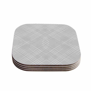 "Famenxt ""Gray Abstract"" Gray White Illustration Coasters (Set of 4)"
