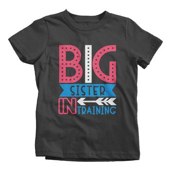 Girl's Big Sister In Training T-Shirt Baby Announcement Reveal Idea Shirt