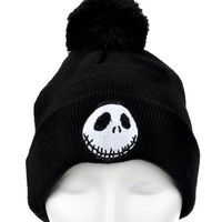 Jack Skellington Pom Pom Beanie Nightmare Before Christmas Knit Cap