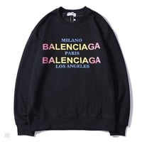 Balenciaga 2018 autumn new color letter Logo round neck pullover sweater black