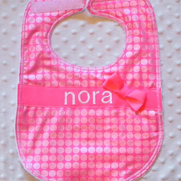 Personalized Bib with Matching Bow - Baby Girl Bright Pink Iridescent Polka Dots