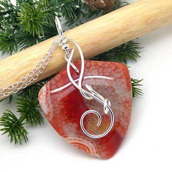 Red Agate Necklace, Sterling Silver Stone Pendant, Wire Wrapped Jewelry Handmade, Polished Stone Necklace, Large Agate Jewelry