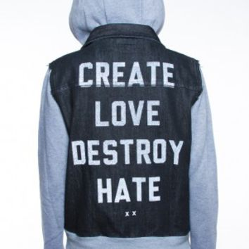 Glamour Kills Clothing - Girls Create Love Destroy Hate Denim Jacket