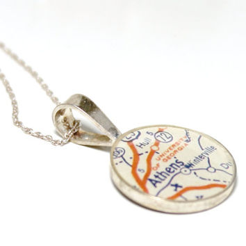 UGA Bulldogs Vintage Map Sterling Silver Round Necklace.