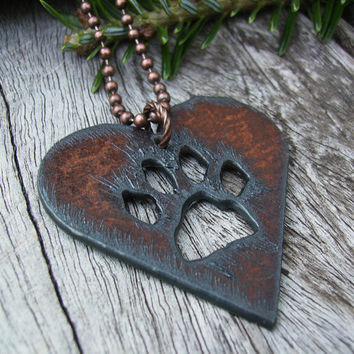 Dog Lover's Necklace, Copper Paw Print Heart Pendant, Dog Paw, Cat Paw, Pet Lover's, Rustic, Casual, Southwest, Western, Rusted Iron, Gift