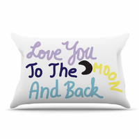 "Vasare Nar ""Love You To The Moon And Back"" Pastel Vector Pillow Case"
