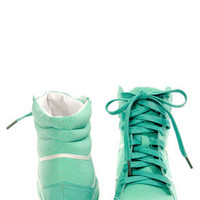 Bamboo Bethany Mint Perforated High Top Wedge Sneakers